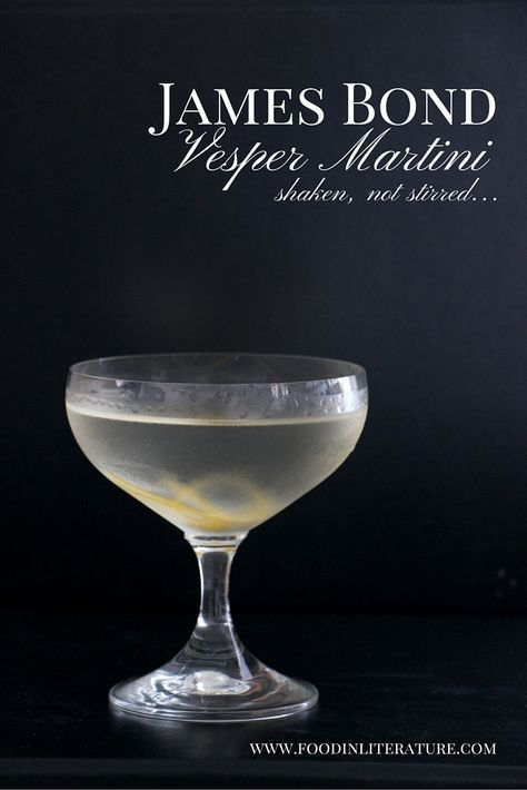 James Bond's Vesper Martini is a must have for your cocktail party. With only four ingredients, its the authentic drink to celebrate the new movie, Spectre. Fun Cocktails, Cocktail Drinks, Fun Drinks, Yummy Drinks, Alcoholic Drinks, Beverages, Cocktail Parties, Birthday Cocktail, Healthy Cocktails