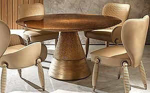 Luxury Dining Table 3d Bronze Finish Fiberglass Dining Table