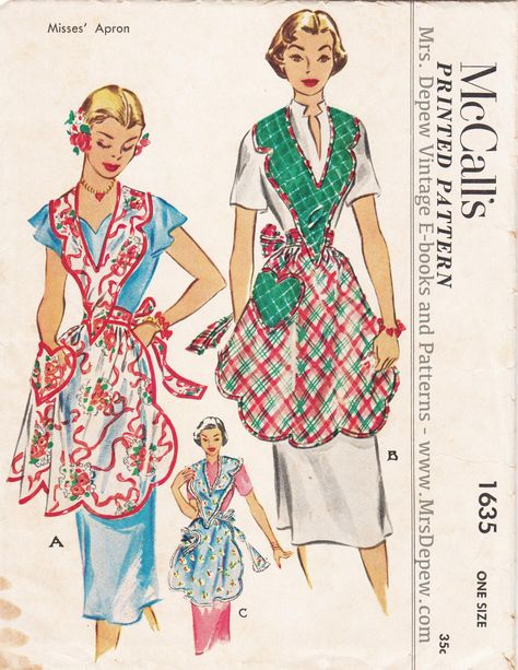 Retro Apron Patterns, Vintage Apron Pattern, Aprons Vintage, Mccalls Patterns, Vintage Sewing Patterns, Clothing Patterns, 1950s Dress Patterns, Sewing Art, Sewing Aprons