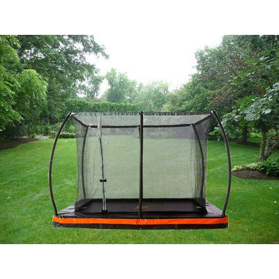 In Ground 12 Rectangular Trampoline With Safety Enclosure Rectangular Trampoline Backyard Trampoline Trampoline