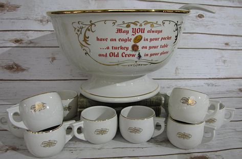 Hall China Company Old Crow Kentucky Whiskey Punch Bowl Set Punch Bowl Set Holiday Party Drinks Punch Bowls