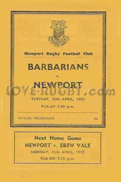 Rugby History Today 20 04 In 1965 Newport 9 8 Barbarians Babas Lose On 1965 Easter Rugby Tour Rugby Rugby Tickets Six Nations
