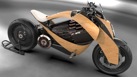 Electric Motorcycle with Wooden Body by Newron - Cars show