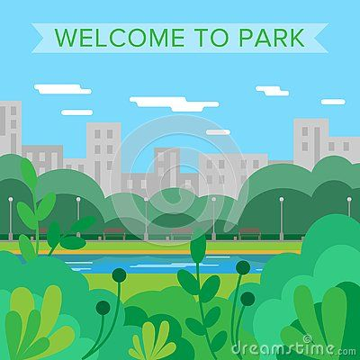 Welcome To Park Vector Background City Park Nature Summer Landscape Illyustracii Risunki Nabroski