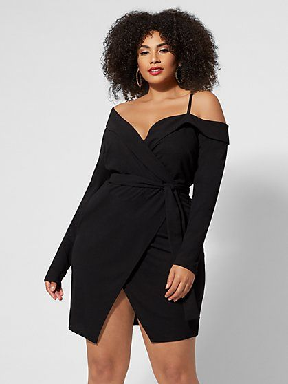 Off-Shoulder Tuxedo Dress | Fashion to figure, Plus size ...