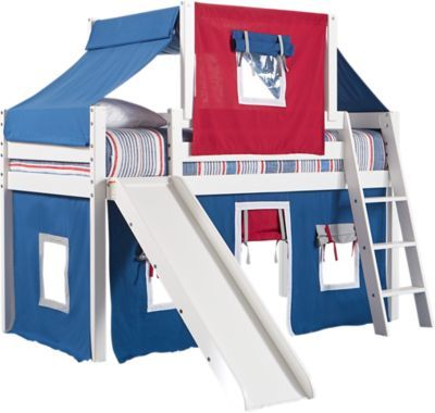 Freedom Fort White Jr Tent Loft Bed With Slide And Top Tent
