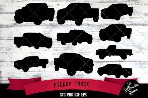 Pickup Truck svg file, car svg cut file, silhouette studio (243238)   Illustrations   Design Bundles