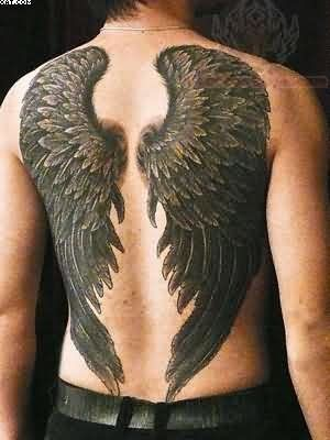 3d Spectacular Looking Black And White Detailed Wings Tattoo On
