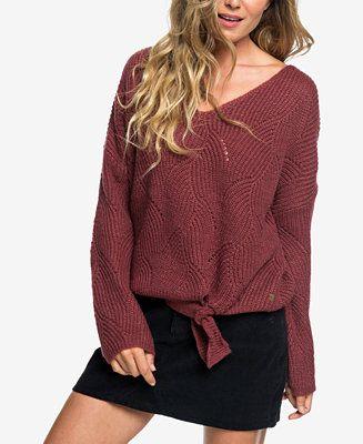 Roxy Juniors\u0027 Tie,Front Bell,Sleeve Sweater Juniors