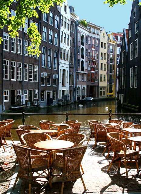 Amsterdam Canal Cafe Seats Places To Travel Places Around The World Places To Go