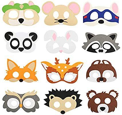 Zerhok 12pcs Kinder Tiermasken Set Puppy Party Filz Masken Susses Tier Augenmaske Cartoons Cosplay Masken Mit Elast Tiermasken Basteln Tiermasken Masken Kinder