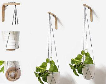 Plant Hanger Macrame Holder Square Beech Hook Simple Design Bracket Wood Wall Hooks Kitchen Decor Hanging Planter Holder