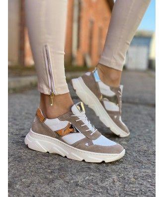 Sportowe Buciki Kampa White Beige Gold Skora Naturalna Polska Produkcja White Beige Shoes Fashion