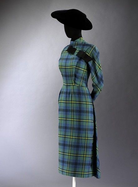 Day dress of Johnston woollen tartan, designed by Jacques Fath, Paris, Museum Number