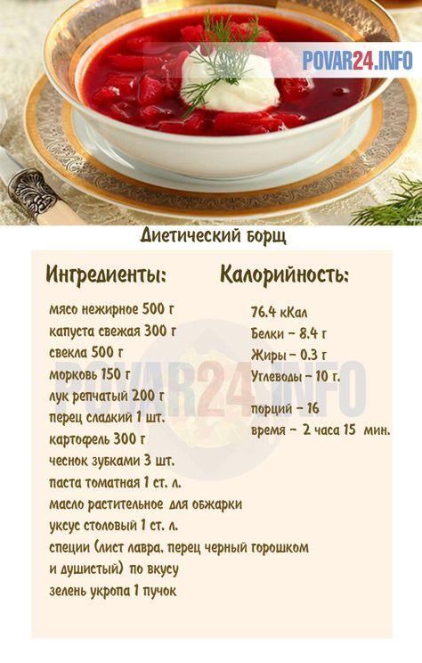 Борщ рецепт для похудения