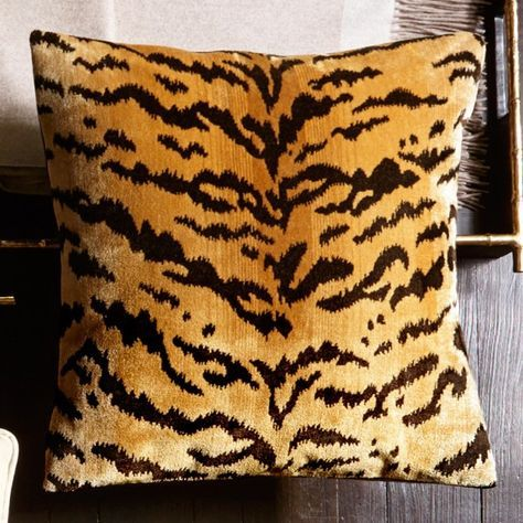Scalamandre Tiger Pillow Cover, Gold