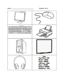 Color The Computer Parts Worksheet Teaching Computers Kindergarten Worksheets Computer Lab