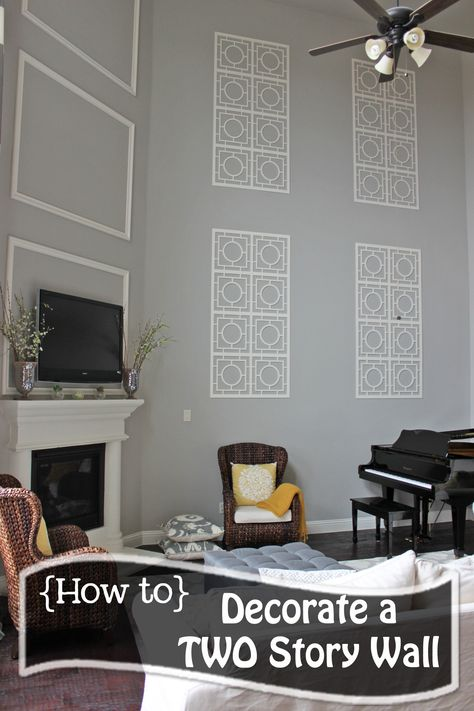 How to Decorate a TWO STORY wall!  What to do with those crazy tall walls....on the cheap!