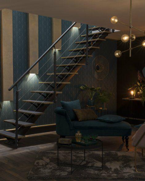 Un Escalier Deco Chic Et Or Deco Amenagement Maison Et Decoration Maison
