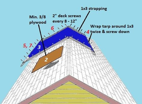 7 Steps To Temporarily Patch Your Roof With A Tarp Roof Patch Roof Repair Roofing