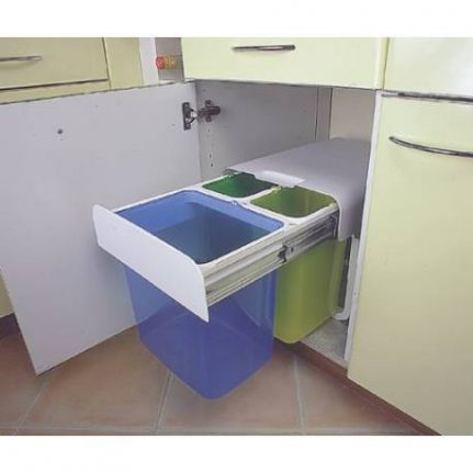 Poubelle Tri Selectif 3 Bacs 32 Litres Accessoires De Cuisines With Regard To Poubelle Cuisine Tri Selectif Kitchen Organization Kitchen Waste Kitchen Design