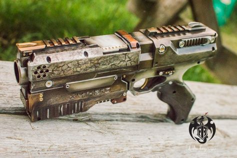 custom painted nerf modified nerf rival phantom cosplay comic con LARP steampunk weapon pistol
