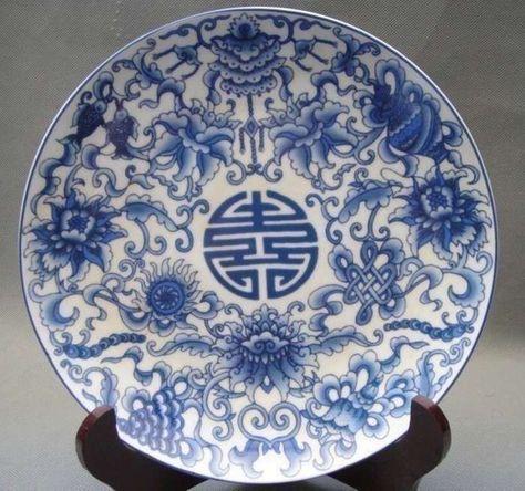 CHINESE WHITE /& BLUE PORCELAIN HAND PAINTED FLOWER VASE W QIANLONG MARK