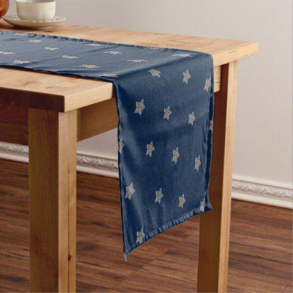 Blue Silver Gray Stars Pattern Festive Elegant Short Table Runner Zazzle Com Blue Table Runner Long Table Runner Holiday Table Runner