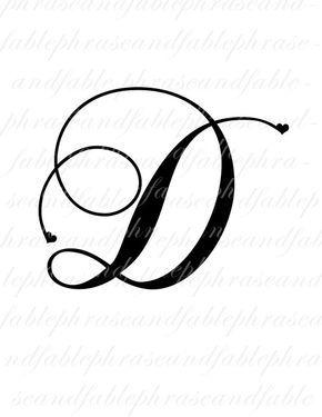 Lettre D Hearts 275 Digital Download Alphabet Nom Initial