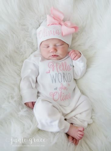 Floral Winter baby clothes Baby girl coming home romper Newborn girl coming home outfit Baby girl romper ORGANIC baby clothes hat