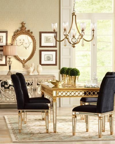Golden reflections: a dining room with mirrored furniture and gold accents. |  Lamps Plus