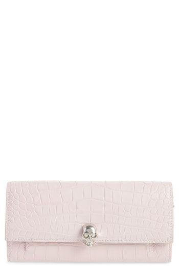 Alexander Mcqueen Skull Croc Embossed Leather Wallet On A Chain Wallet Leather Wallet Embossed Leather