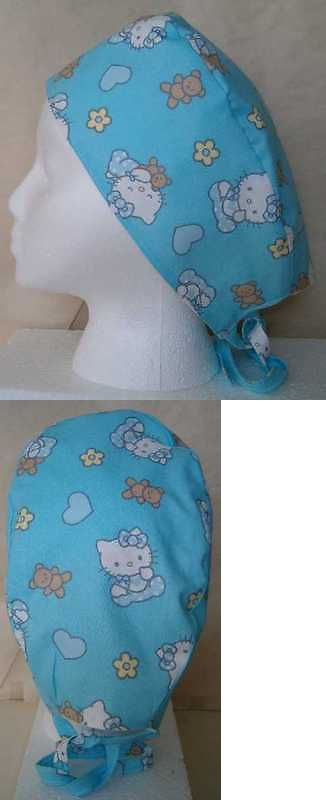 Surgical Scrub Hat Skull Cap w Pink Ribbon Fabric Nurse Chemo ER Cancer Support