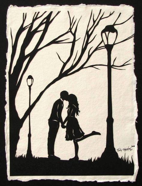 Autumn Kiss - Hand-Cut Silhouette Papercut