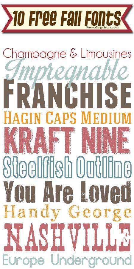10 Free Fall Fonts thecraftingchicks.com
