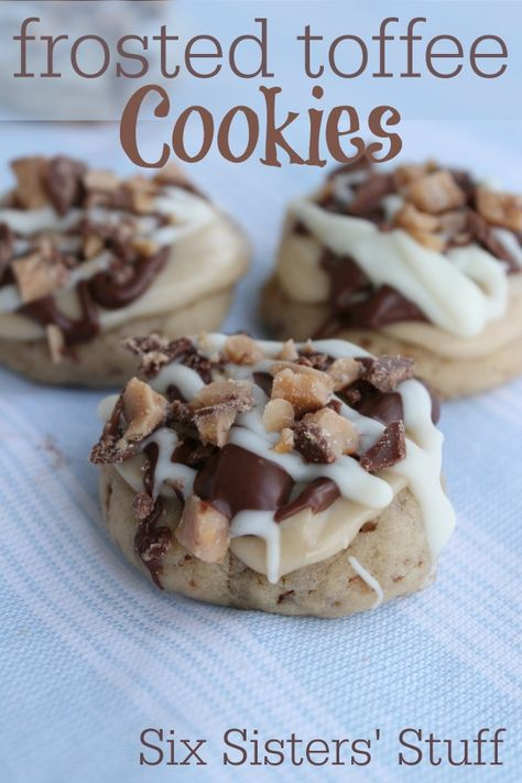 Six Sisters Frosted Toffee Cookies are so soft and topped with deliciousness!!