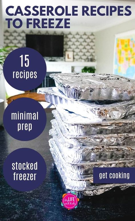 These easy make ahead freezer casserole meals are perfect for busy families, to gift to new moms or even to feed a crowd at a party or a funeral. Chicken Freezer Meals, Freezer Friendly Meals, Make Ahead Freezer Meals, Freezer Cooking, Chicken Recipes To Freeze, Food To Freeze, Crockpot Frozen Meals, Hamburger Freezer Meals, Freezer Meal Party