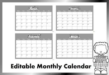 Editable Monthly Calendar July 2020 July 2021 Black And White