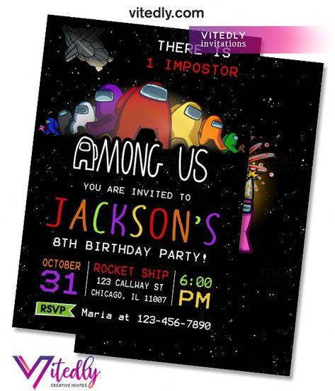 23 Among Us Birthday Ideas Birthday Cupcake Toppers Printable Diy Birthday Invitations
