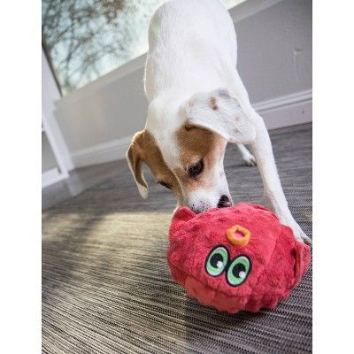 Hear Doggy Blow Fish Silent Squeak Plush Dog Toy Red L Clear