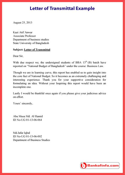 Letter of Transmittal Example \/ Template \/ Sample \/ Format - example letter of transmittal