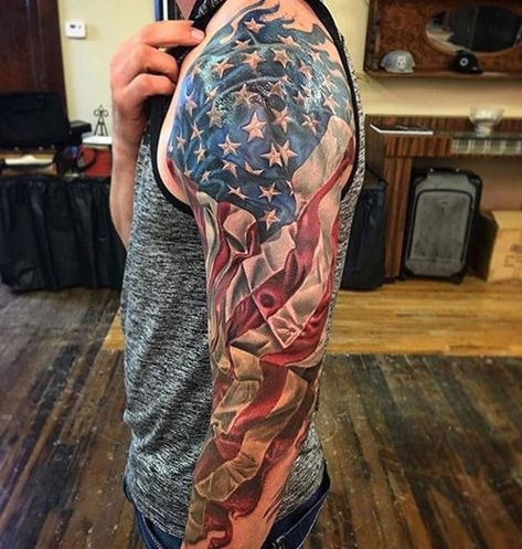 Cool Patriotic American Flag Sleeve Tattoo - Best American Flag Tattoos: Cool Patriotic US Flag Tattoo Designs and Ideas For Men tattoos for men 101 Best American Flag Tattoos: Patriotic Designs + Ideas Guide)