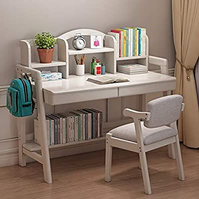 Amazon Com Lchao Furniture Student Study Desk Child S Wood Desk With Bookshelf Great Gift For Girls And Boys Be In 2020 Bookshelf Desk Desk And Chair Set Study Desk