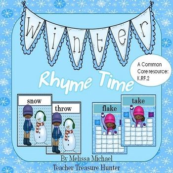 Winter Rhyme Time ~ This rhyming card game is perfect for practicing rhyming! It correlates with the CCSS K.RF.2 standard for kindergarten and can be used for 1st grade review work. The cards can be used for: * quizzing students (assessment of student practice) * memory game * a pocket chart activity * write the room activity  This set features 24 rhyming cards and a recording sheet.  TPT $2