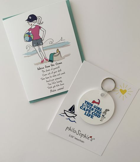 """This Girl Loves the Cape Cod Life Keychain Bonus FREE Advice from the Ocean greeting card Constructed from solid, durable laminate with high-gloss smooth finish Measures 2.25"""" round; includes key ring Made in the USA perfect pick-me-up/thinking of you gift to send a friend."""