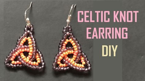 Beaded Celtic Knot Earring With Herringbone Stitch Gyongyfuzes