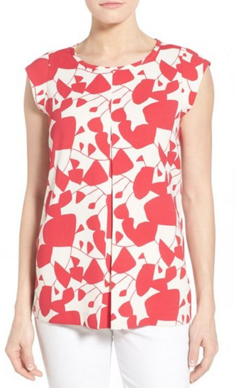 Red and White Abstract Floral Cap-Sleeve Blouse