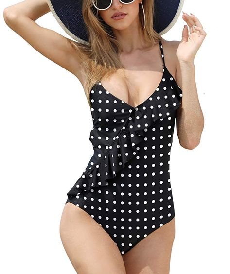 4474a7c193 Eomenie Women's Backless Ruffle Flounce One Piece Monokini Tie Back Tummy  Control V-Neck Strappy Bathing Suits Swimsuits (Print#11, Medium (US 8-10))  # ...