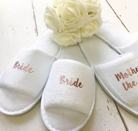 b2c5c155a86393 Rose Gold Bridal slippers • Bridal Party Slippers • Hen Party ...