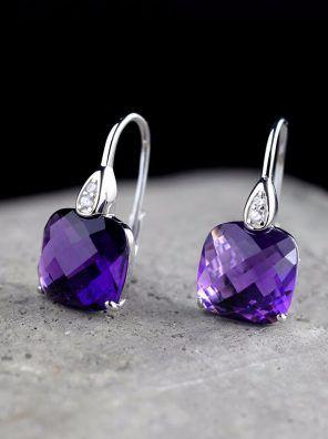 Handmade Drop Silver earrings with purple  jade Silver 925